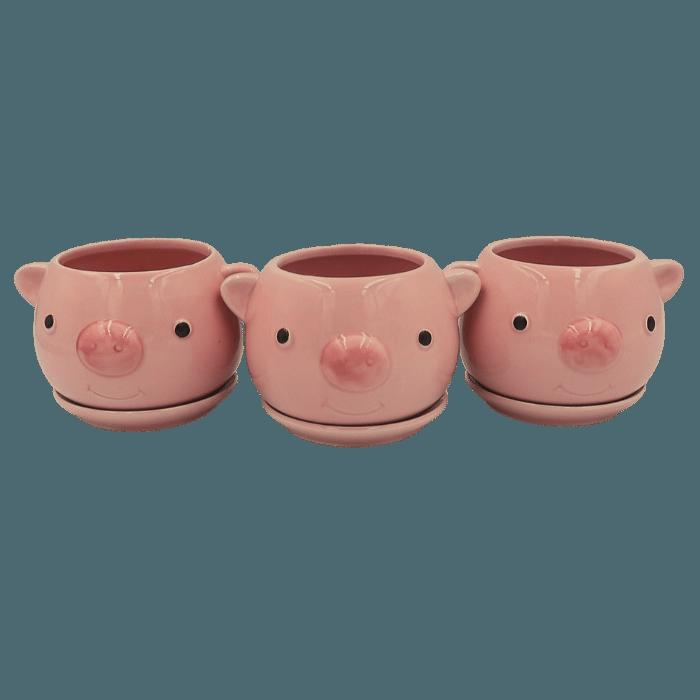 Cachepo de ceramica - 3 porquinhos