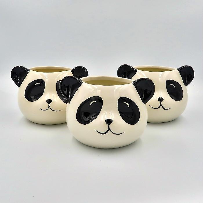 Cachepo de ceramica - 3 ursos panda