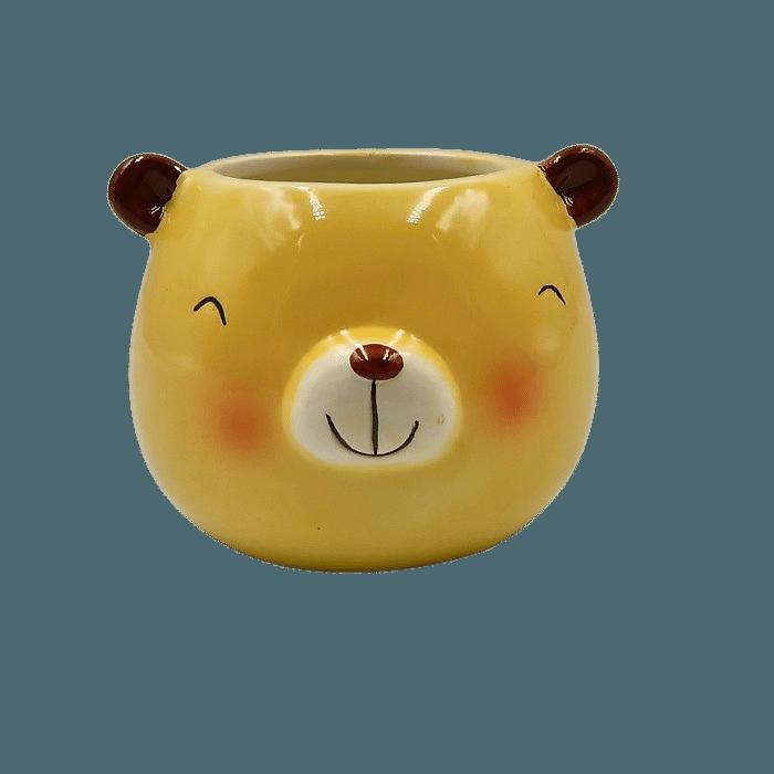 Cachepo de ceramica - 3 ursos pardo