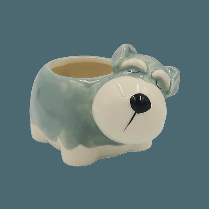 Cachepo de ceramica - caozinho schnauzer