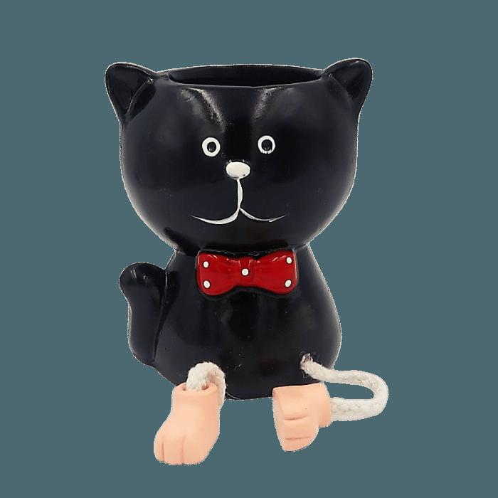Cachepo de ceramica - gato preto