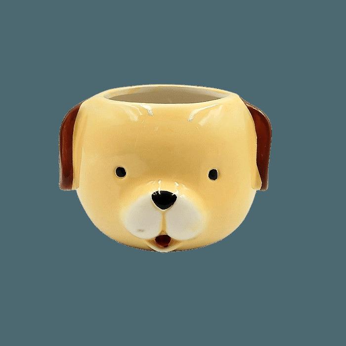 Cachepo de ceramica - kit melhores amigos - cão e elefante
