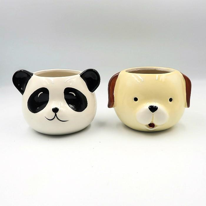 Cachepo de ceramica - kit melhores amigos - cão e panda