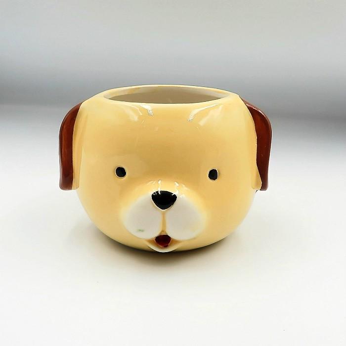 Cachepo de ceramica - kit melhores amigos - cão e pardo