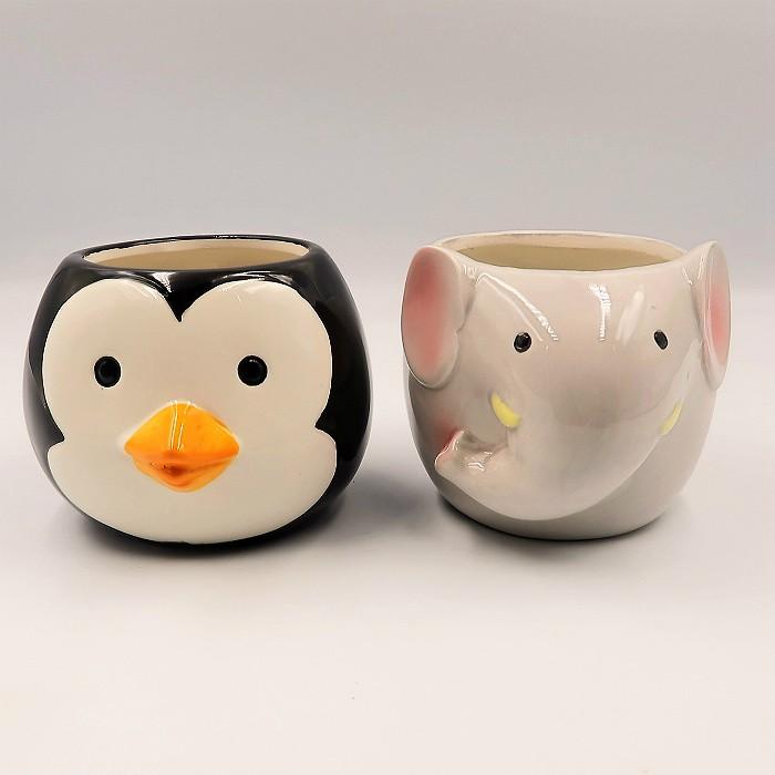 Cachepo de ceramica - kit melhores amigos - elefante e pinguim