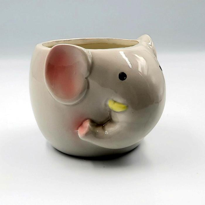 Cachepo de ceramica - kit melhores amigos - gato e elefante