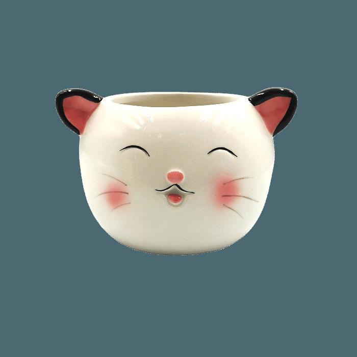 Cachepo de ceramica - kit melhores amigos - gato e pinguim