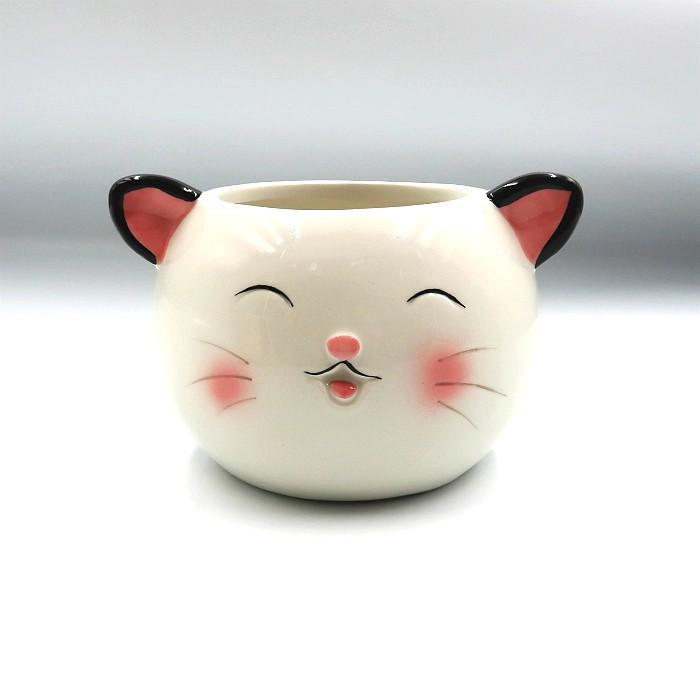 Cachepo de ceramica - kit melhores amigos - gato e urso panda