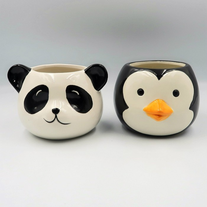 Cachepo de ceramica - kit melhores amigos - urso panda e pinguim