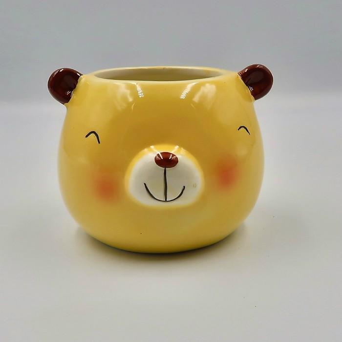 Cachepo de ceramica - kit melhores amigos - urso pardo e gatinho
