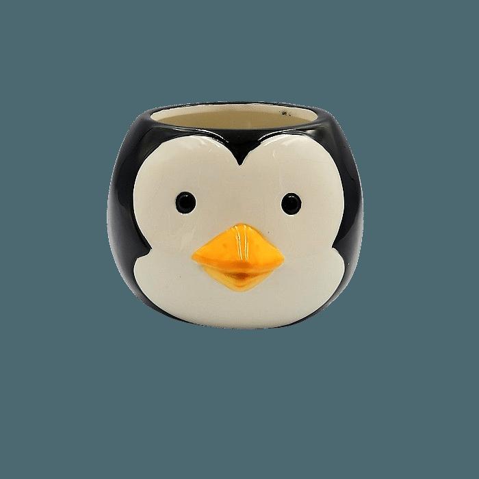 Cachepo de ceramica - kit melhores amigos - urso pardo e pinguim