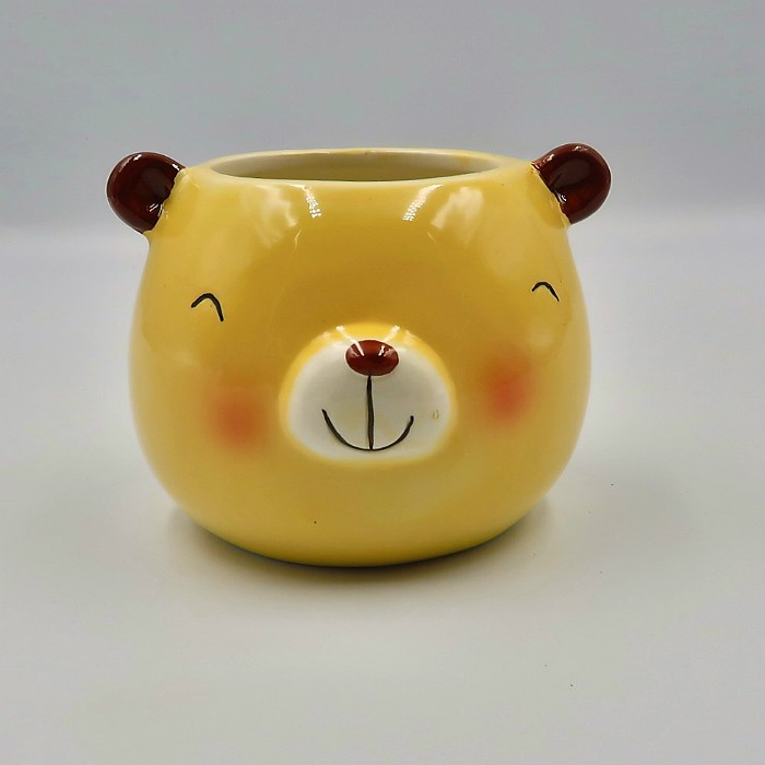 Cachepo de ceramica - kit melhores amigos - urso pardo e urso panda