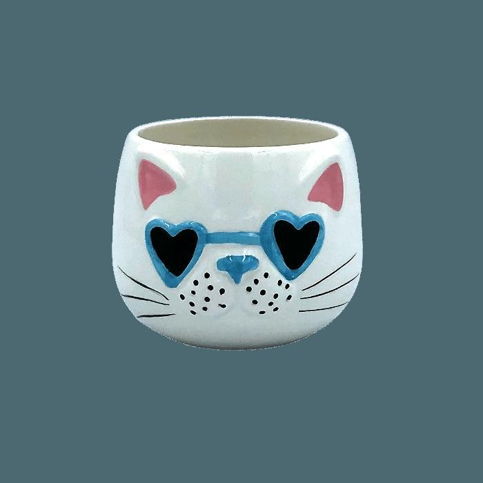 Cachepo de ceramica - modelo gatinho de oculos