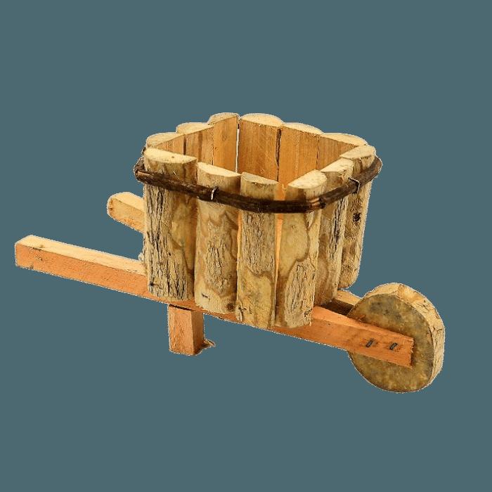 Cachepo de madeira - modelo carrinho de mão -  12 cm x 26 cm
