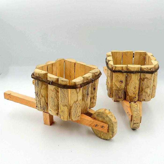Cachepo de madeira - modelo carrinho de mão -  12x26 cm - kit 02 unid