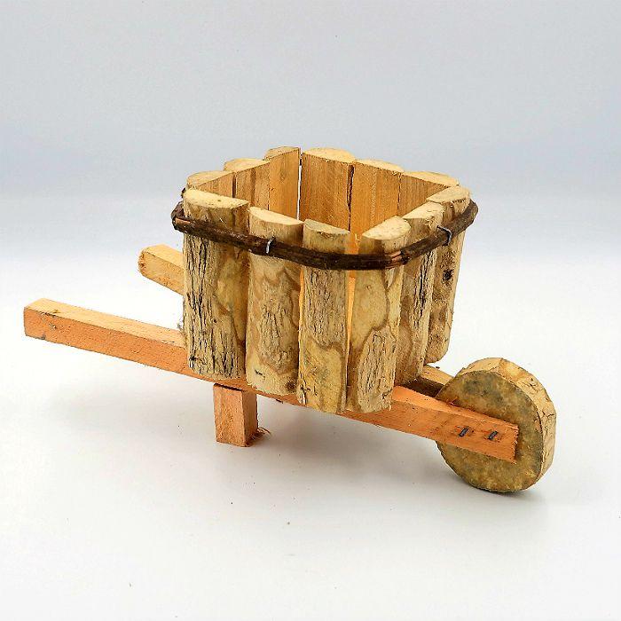 Cachepo de madeira - modelo carrinho de mão -  12x26 cm - kit 03 unid