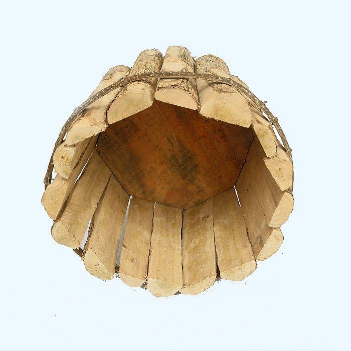 Cachepo de madeira rustico 20 cm x 15 cm