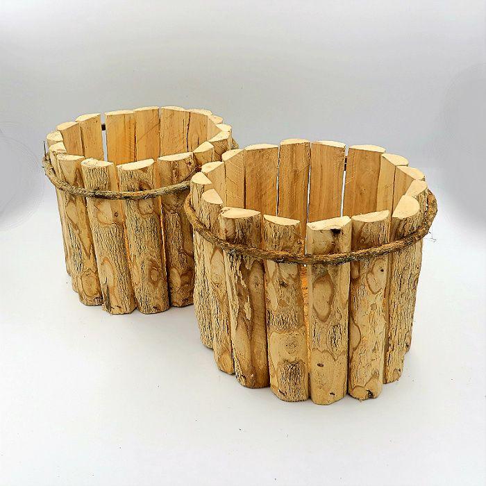 Cachepo de madeira rustico 20 cm x 15 cm - kit 02 unid