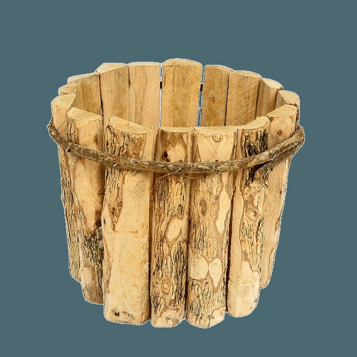 Cachepo de madeira rustico 20 cm x 15 cm - kit 03 unid