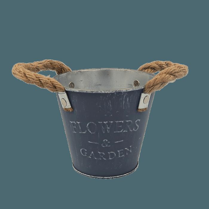 Cachepo de metal - modelo rustico cinza