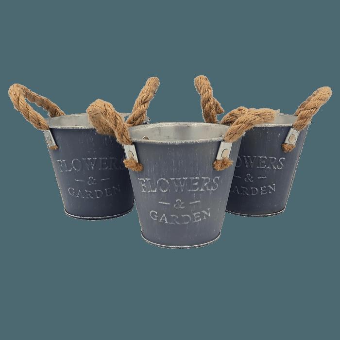 Cachepo de metal - modelo rustico cinza - kit 3 unid