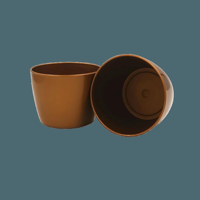 Cachepo elegance redondo 09 x 11 cm - dourado - kit 03 un