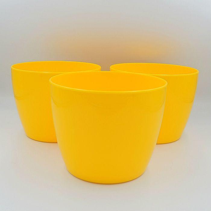Cachepo elegance redondo 12x14 cm - amarelo - kit 03 un
