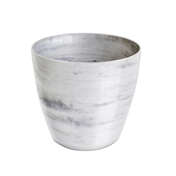 Cachepo elegance redondo 12x14 cm - branco carrara - kit 03 un