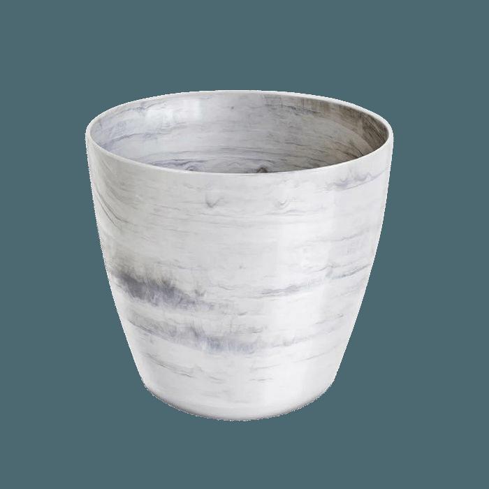Cachepo elegance redondo 12x14 cm - branco carrara - kit 06 un