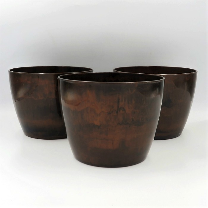 Cachepo elegance redondo 12x14 cm - café - kit 03 un