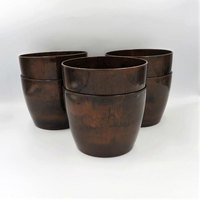 Cachepo elegance redondo 12x14 cm - café - kit 06 un