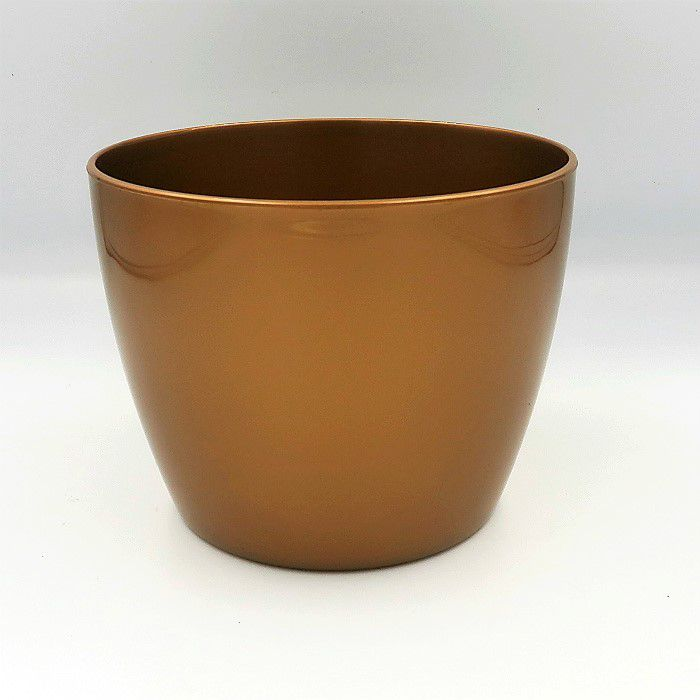 Cachepo elegance redondo 12x14 cm - dourado - kit 03 un