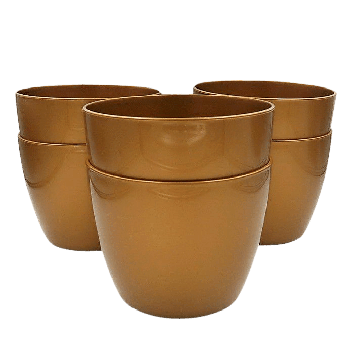 Cachepo elegance redondo 12x14 cm - dourado - kit 06 un