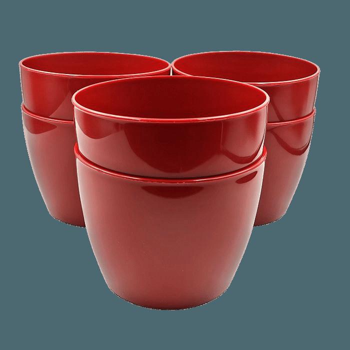 Cachepo elegance redondo 12x14 cm - vinho - kit 06 un