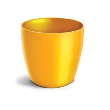 Cachepo elegance redondo 14x12 cm - amarelo - kit 03 un + brinde