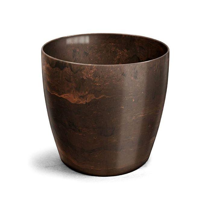 Cachepo elegance redondo 14x12 cm - café imperial - kit 03 un + brinde