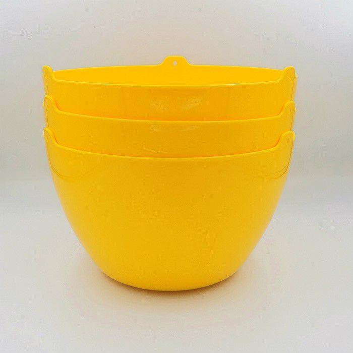 Cachepo elegance redondo 15x24 cm - amarelo - kit 03 un