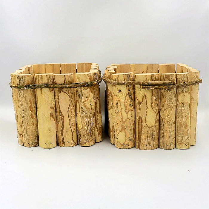 Cachepo quadrado de madeira rustico 15 x 19 cm - kit 02 unid