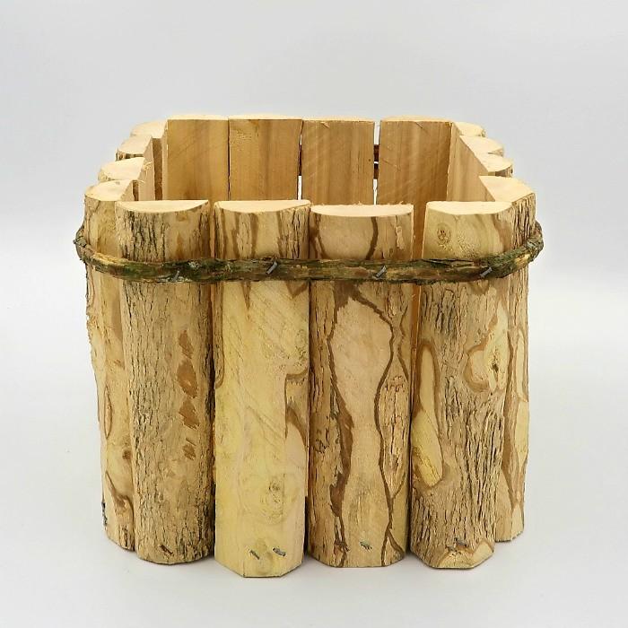 Cachepo quadrado de madeira rustico 15 x 19 cm - kit 03 unid