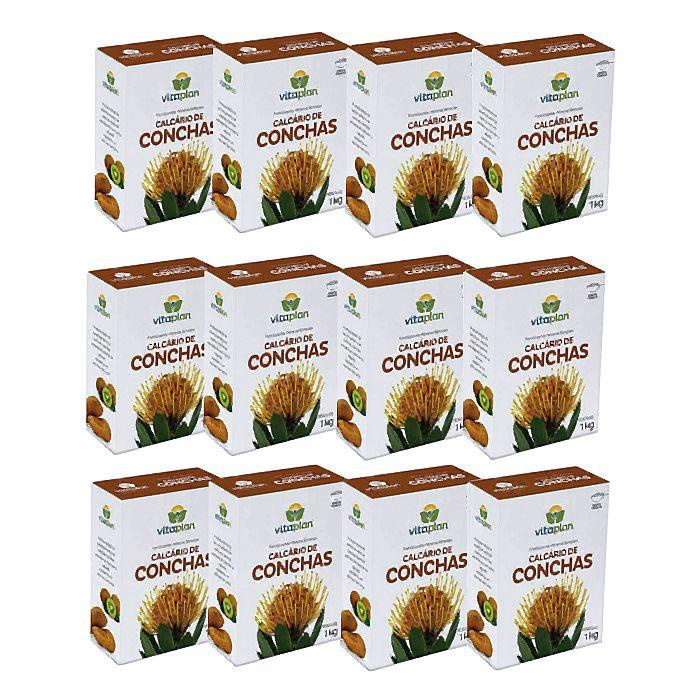 Calcário de Conchas Vitaplan - kit 12 caixas 1 kg + brinde