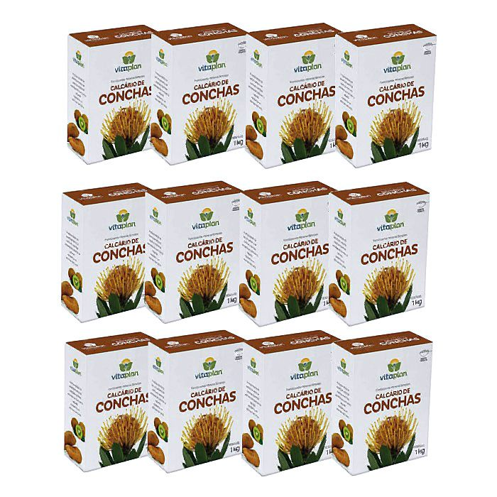 Calcário de Conchas Vitaplan - kit 12 caixas 1kg