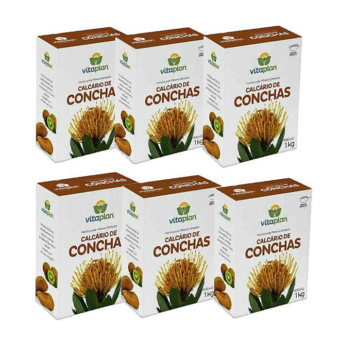Calcário de Conchas Vitaplan - kit 6 caixas 1 kg + brinde