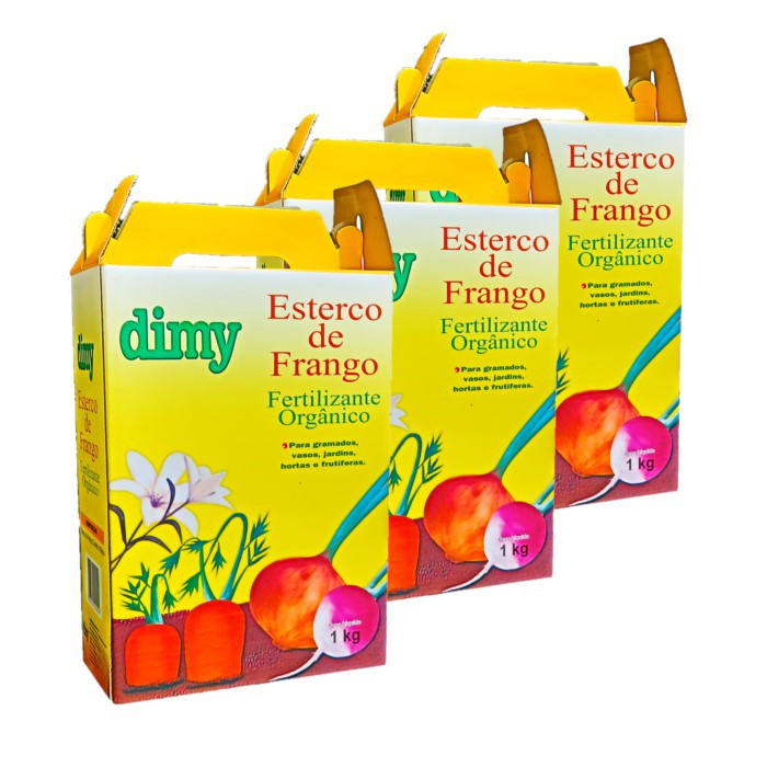 Fertilizante esterco de frango - dimy - kit 3 x 1 kg