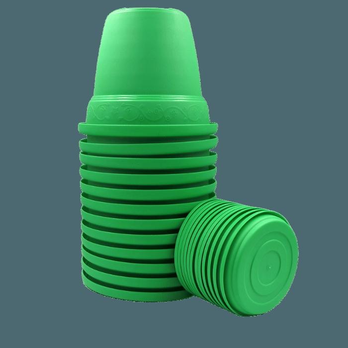 Vaso plástico com prato - verde - 16 x 19 cm - kit 12 unid
