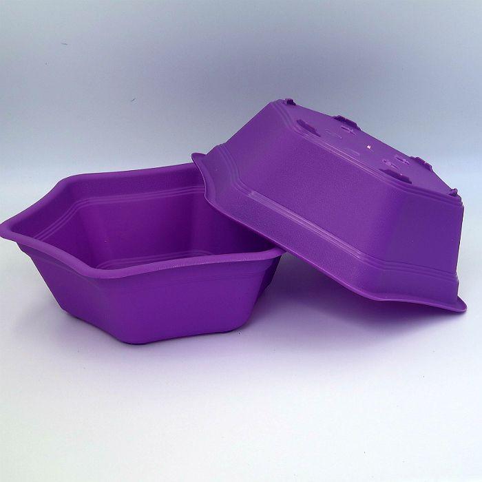 Vaso plastico hexagonal - roxo - kit 06 un