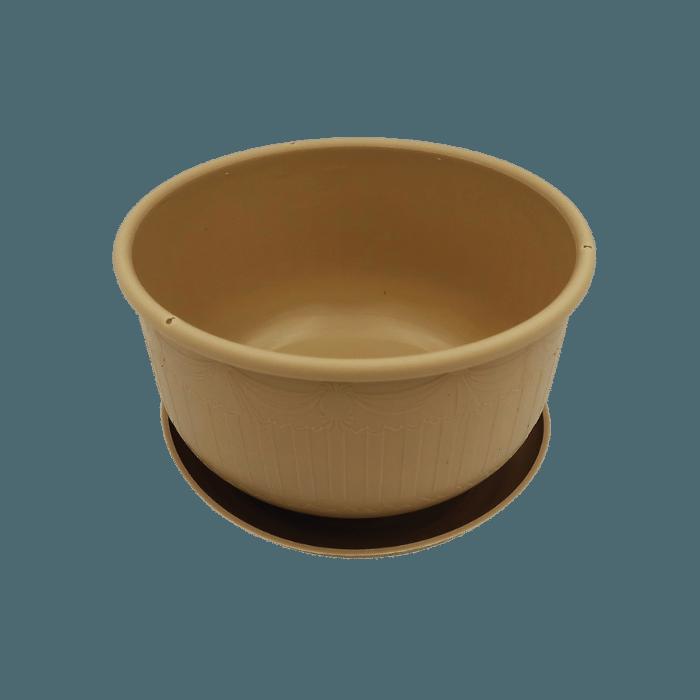Cuia com prato - areia - 09 x 15 cm