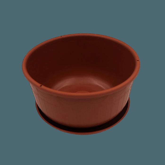 Cuia com prato - marrom - 09 x 15 cm