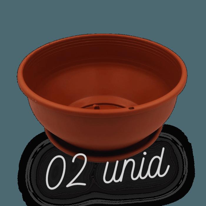 Cuia com prato - marrom - 12 x 24 cm - kit 02 unid