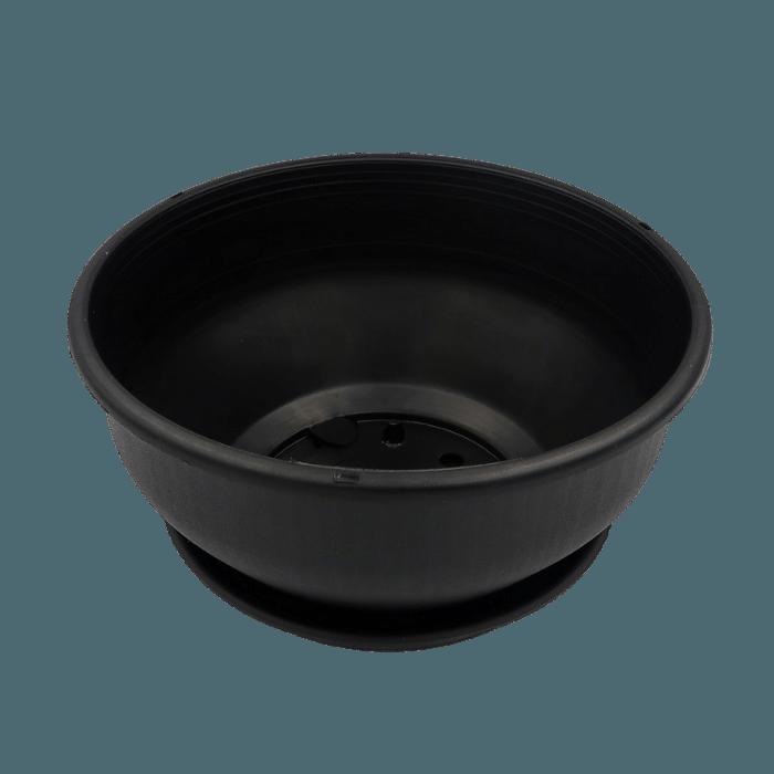 Cuia com prato - preta - 12 x 24 cm