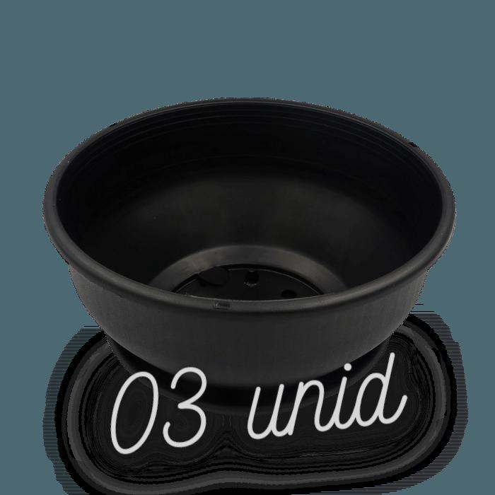 Cuia com prato - preta - 12 x 24 cm - kit 03 unid